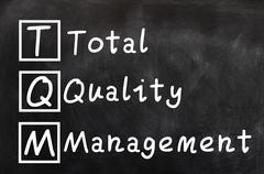 Handwriting of total quality management (tqm) Stock Photos