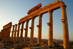 relics of palmyra in syria at sunset - stock photo