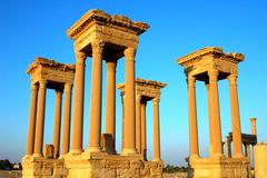 relics of palmyra towers in syria - stock photo