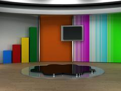 Kids 3d studio tv virtual set Stock Illustration