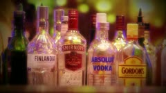 Selection of bottles of alcohol - stock footage