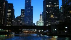 Chicago River Boatride Timelapse Stock Footage