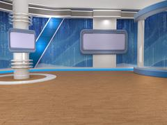 3d studio tv virtual set - stock illustration