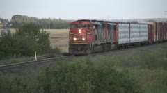 Medium slow train eastbound Stock Footage