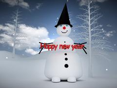 Snowman with happy new year Stock Illustration