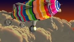 Colorful airship in the clouds. Introductory splash with green screen. - stock footage
