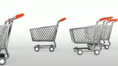 Supermarket trolley. 3D animation Stock Footage