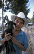 Farmer with goat people man male person country Stock Photos