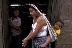 guatemala mother and child kid laguna village - stock photo