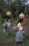 Guatemala girls carrying water naranhal peten Stock Photos