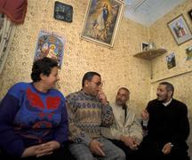 Egypt catholic priest father matta visiting Stock Photos