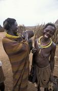 South sudan toposa village near narus people Stock Photos