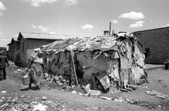 poverty slum dwelling nairobi kenya people house - stock photo