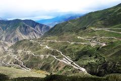 Landscape of zigzag mountain roads Stock Photos