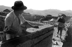 labor adobe house sucre district bolivia people - stock photo