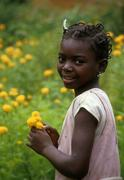 Equatorial guinea child kid of anisok people Stock Photos
