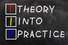 Acronym of tip for theory into practice Stock Photos