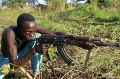 South sudan spla soldier chukudum people person Stock Photos