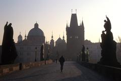 Czech republic the charles bridge prague people Stock Photos