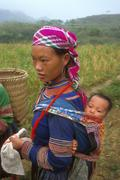Vietnam hmong tribal woman female and baby bo Stock Photos