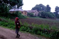 Landscape woman female walking in rural area of Stock Photos