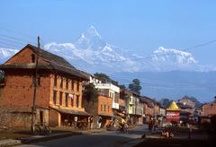 nepal annapurna range from pokhara design people - stock photo