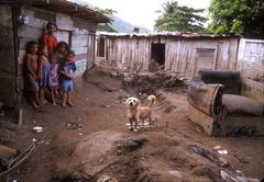 honduras family recovering from damage of mitch - stock photo