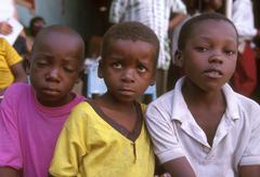 Tanzania boys at an aids awareness meeting Stock Photos