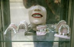 Window of dental office mexico hispanic city Stock Photos