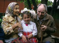 Russia ageing old couple with their khabarovsk Stock Photos