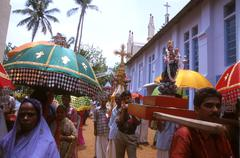 India religion christian procession on feast of Stock Photos