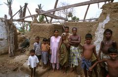 india disasters cyclone damage orissa family - stock photo