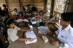 Cambodia schools school in malik village people Stock Photos