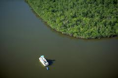 Water islands everglades boat vacation calm lush Stock Photos