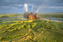 Water natural hot springs geysers rock black Stock Photos