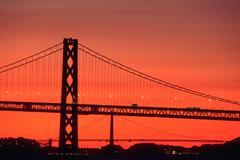 fitness double bridge bay golden gate afterglow - stock photo