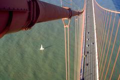 Fitness sailboat sails under golden gate bridge Stock Photos