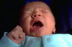 Baby child kid yawning sleepy young boredom cute Stock Photos