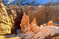 Winter snow rock formations bryce canyon geology Stock Photos