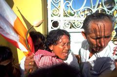 Woman female people cambodia phnom penh flag Stock Photos