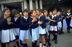 School children kids girls guatemala city plaza Stock Photos