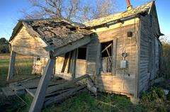 family house home texas shack falling apart old - stock photo