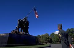 Man male statue marines raising flag iowa jima Stock Photos