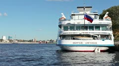 """Ship """"Sergei Diaghilev"""" at the river harbor in St. Petersburg, Russia Stock Footage"""