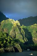 nature marquesas island pacific ocean motorboat - stock photo