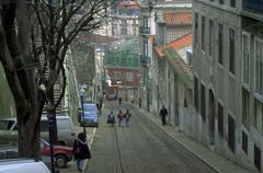 school children kids street scene lisbon cities - stock photo