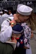 Family love people couple child kid home navy Stock Photos