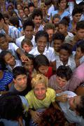 family people children kids home crowd cuba - stock photo