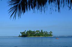 nature island ocean tropics lush tahiti palm - stock photo