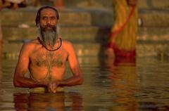 Water love people man male holy praying river Stock Photos